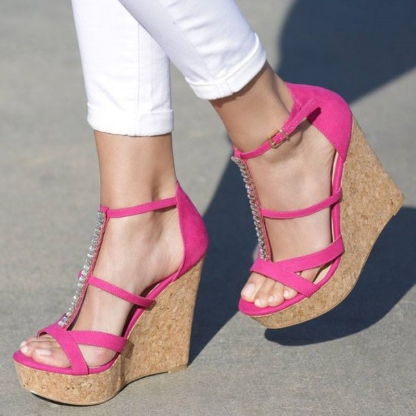 d21cc66a3d Pink Suede Rhinestone T Strap Cork Wedges Sandals for Party, Date ...
