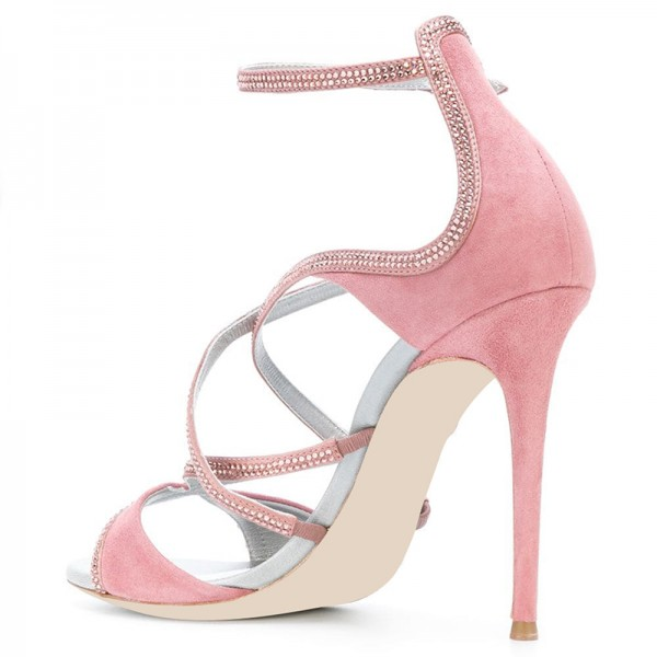 Pink Suede Rhinestones Cross Over Stiletto Heel Ankle Strap Sandals image 3