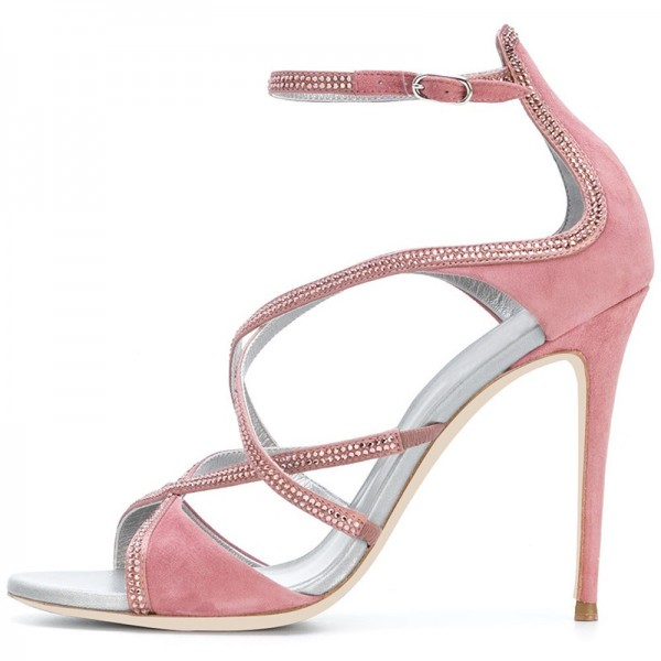 Pink Suede Rhinestones Cross Over Stiletto Heel Ankle Strap Sandals image 2