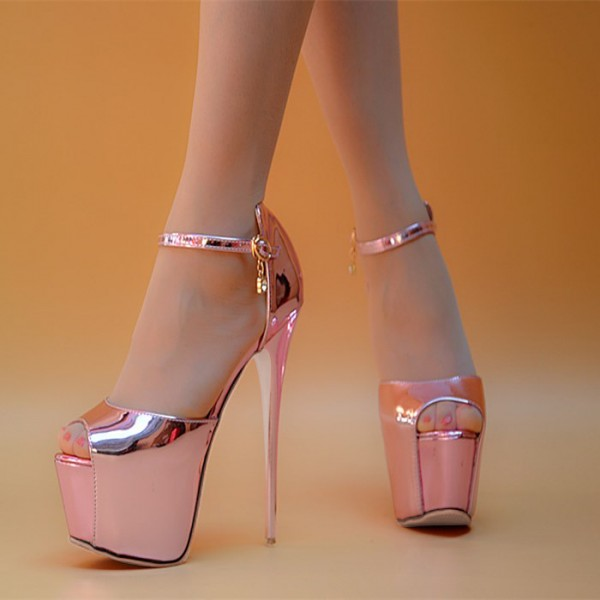 Women's Pink Peep Toe Super Stiletto Heels Pencil Stripper Sandals image 4