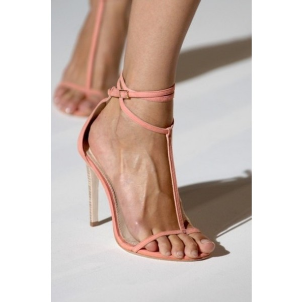 Pink Open Toe T Strap Sandals Stiletto Heels Thin Strap Sandals image 2