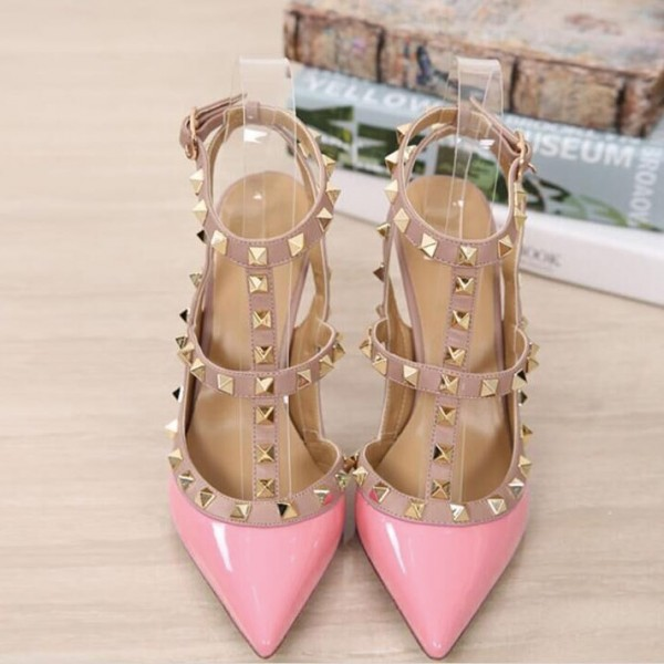 Pink T Strap Heels Patent Leather Rock Studs Slingback Pumps image 1