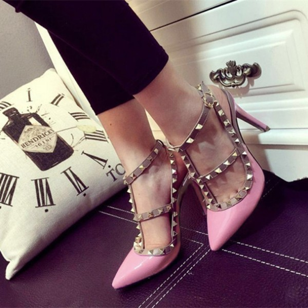 Pink T Strap Heels Patent Leather Rock Studs Slingback Pumps image 2