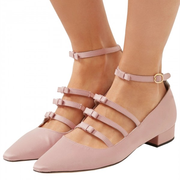 Pink Tri Straps Mary Jane Shoes Chunky Heel Ankle Strap Pumps image 1