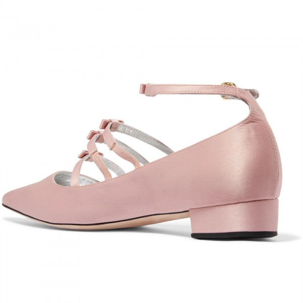 Pink Tri Straps Mary Jane Shoes Chunky Heel Ankle Strap Pumps image 2