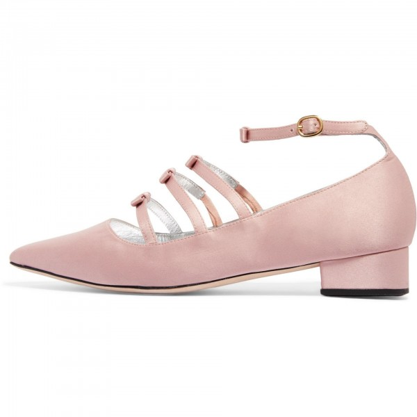 Pink Tri Straps Mary Jane Shoes Chunky Heel Ankle Strap Pumps image 4
