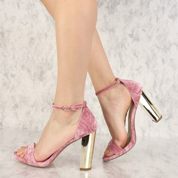 Pink Open Toe Chunky Heels Ankle Strap