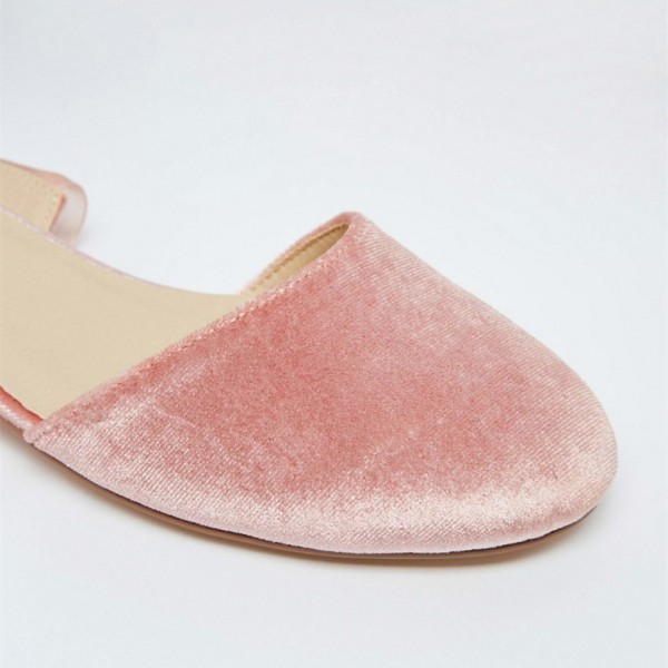 Pink Velvet Round Toe Comfortable Flats Lace Strappy Shoes image 3