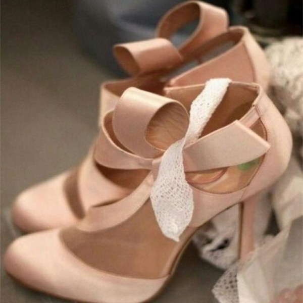 Pink Wedding Heels Round Toe Satin Lace Pumps with Bow  image 3