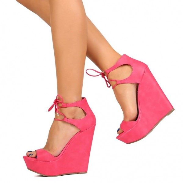 64208a3b0946f Pink Wedge Sandals Open Toe Platform Front Lace up Sandals for Party ...