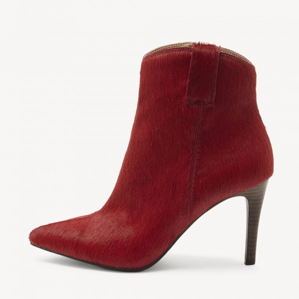 Plum Horse Hair Pointy Toe Stiletto Heel Ankle Booties image 3