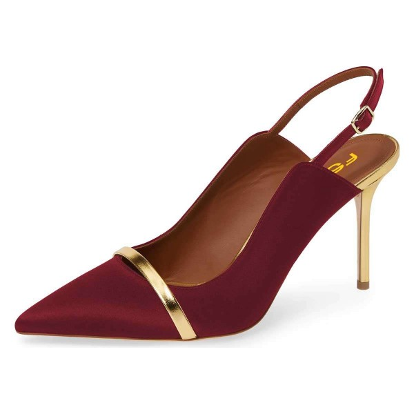 Burgundy Pointy Toe Gold Strap Stiletto Heel Slingback Pumps image 1