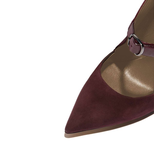 Maroon Suede Pointy Toe Buckle Stiletto Heels Pumps image 2