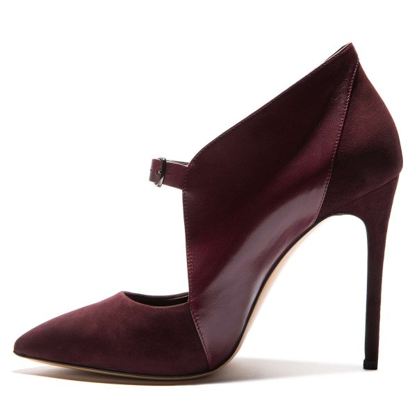 Maroon Suede Pointy Toe Buckle Stiletto Heels Pumps image 4