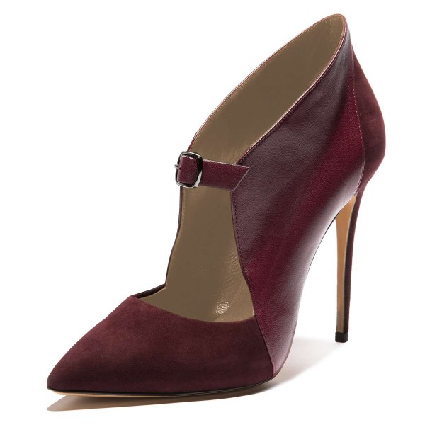 Maroon Suede Pointy Toe Buckle Stiletto Heels Pumps image 1