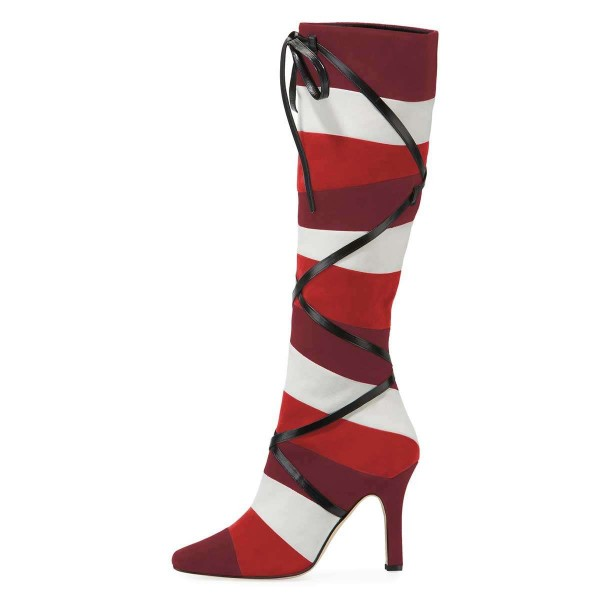 Plum White Red Three-tone Strap Long Boots Knee-high Boots image 3