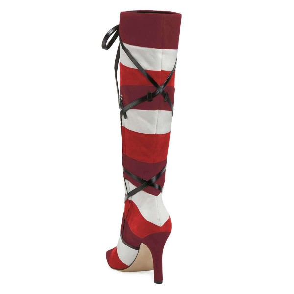 Plum White Red Three-tone Strap Long Boots Knee-high Boots image 2