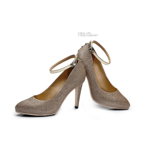 Champagne Glitter Shoes Sutds Ankle Strap Pumps for Women image 2
