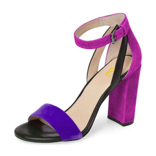 Purple and Black Ankle Strap Sandals Suede Block Heels by FSJ image 1