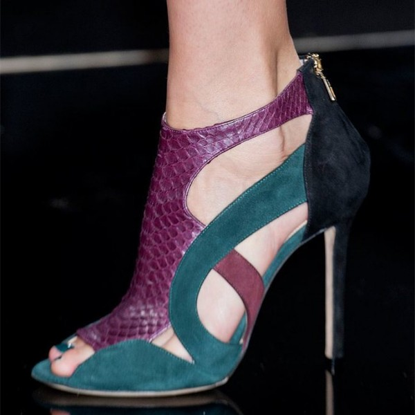 Purple and Green Python Cut out Summer Boots Peep Toe Stiletto Booties image 1