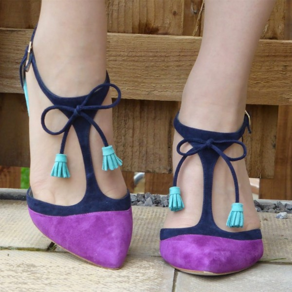 Purple and Navy T-Strap Heels Pointed Toe Stiletto Heel Office Heels image 3
