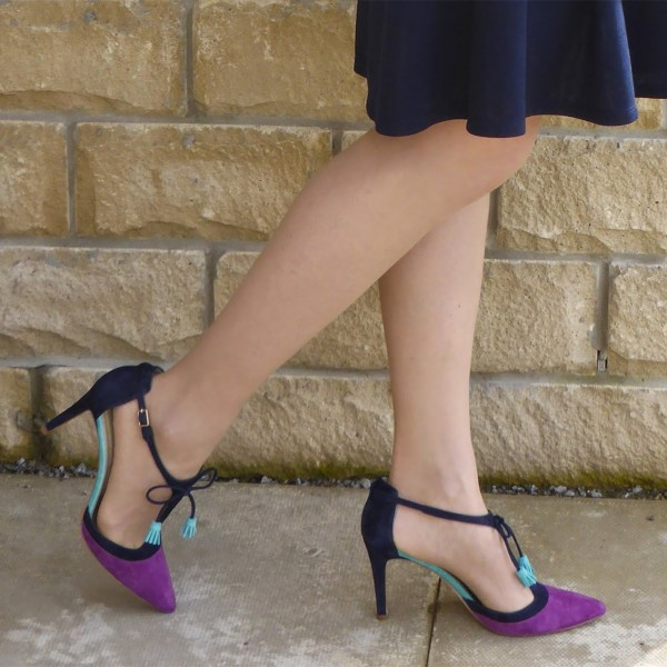 Purple and Navy T-Strap Heels Pointed Toe Stiletto Heel Office Heels image 4