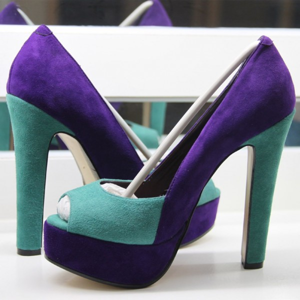 Purple and Turquoise Peep Toe Heels Suede Pumps with Platform image 1