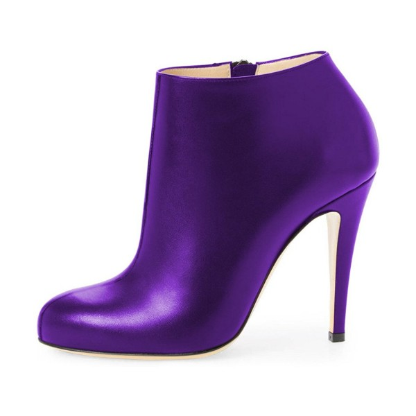 Purple Heeled Boots Round Toe Fashion Work Shoes for Women image 4