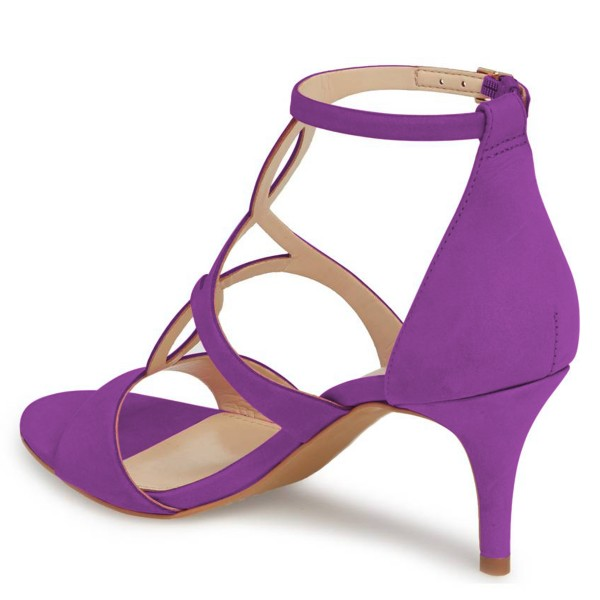 FSJ Purple T Strap Sandals Open Toe Dressy Office Heels image 3