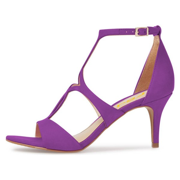 FSJ Purple T Strap Sandals Open Toe Dressy Office Heels image 2