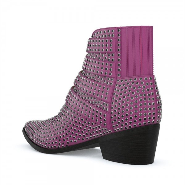 Purple Buckles Studs Fashion Boots Block Heel Ankle Boots image 3