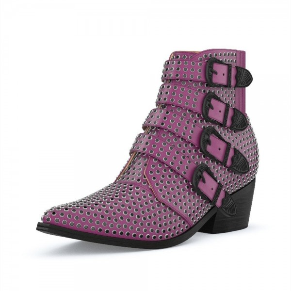Purple Buckles Studs Fashion Boots Block Heel Ankle Boots image 1