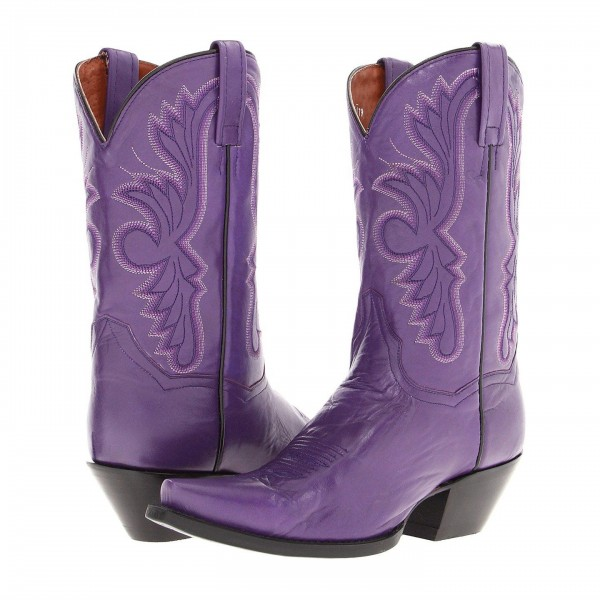Purple Cowgirl Boots Vintage Square Toe Chunky Heel Mid Calf Boots image 1