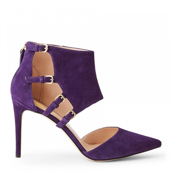Purple Suede Shoes Pointy Toe Cut out Stiletto Heel Pumps with Buckles image 3