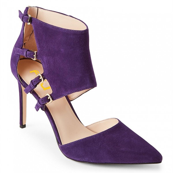 Purple Suede Shoes Pointy Toe Cut out Stiletto Heel Pumps with Buckles image 4