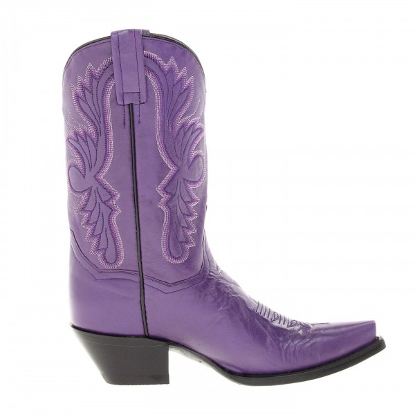 Purple Cowgirl Boots Vintage Square Toe Chunky Heel Mid Calf Boots image 5