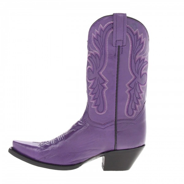 Purple Cowgirl Boots Vintage Square Toe Chunky Heel Mid Calf Boots image 3