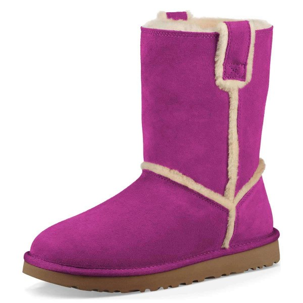 Purple Furry Winter Boots Flat Ankle Boots image 1