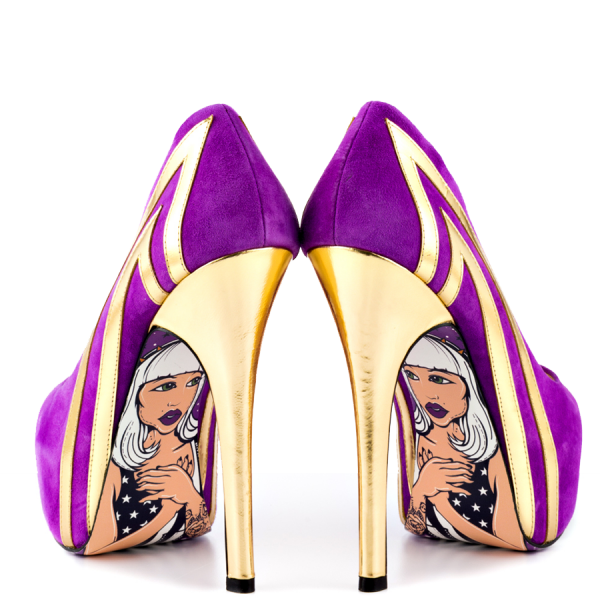 Purple Heels Almond Toe Stiletto Heels Pumps Platform Heels for Women image 2