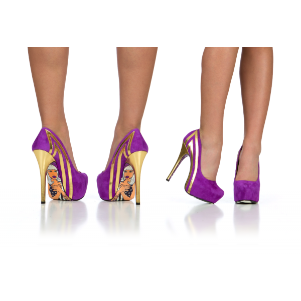 Purple Heels Almond Toe Stiletto Heels Pumps Platform Heels for Women image 4