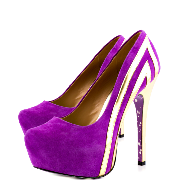 Purple Heels Almond Toe Stiletto Heels Pumps Platform Heels for Women image 1