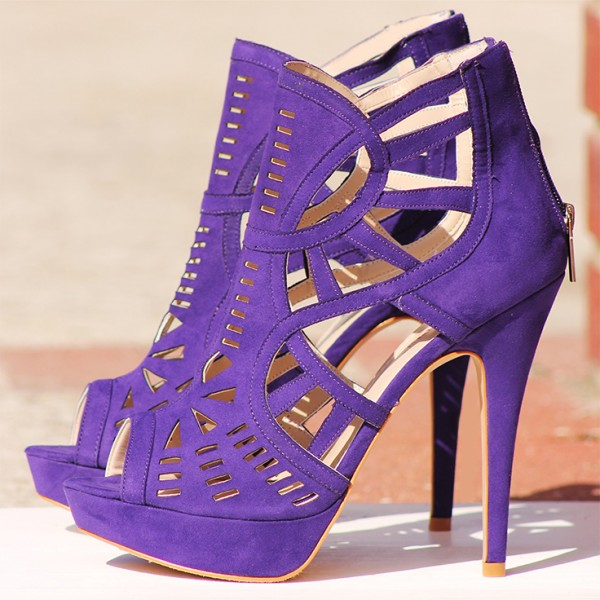 Purple Cut out Platform Sandals Peep Toe Stiletto Heels Caged Sandals image 6