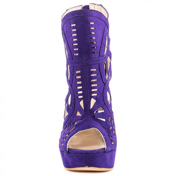 Purple Cut out Platform Sandals Peep Toe Stiletto Heels Caged Sandals image 3