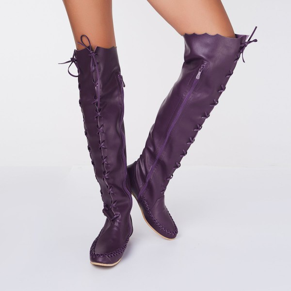Purple Knee Boots Round Toe Flat Comfortable Strappy Boots for Women image 2