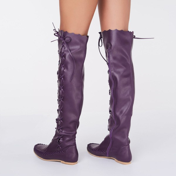 Purple Knee Boots Round Toe Flat Comfortable Strappy Boots for Women image 3