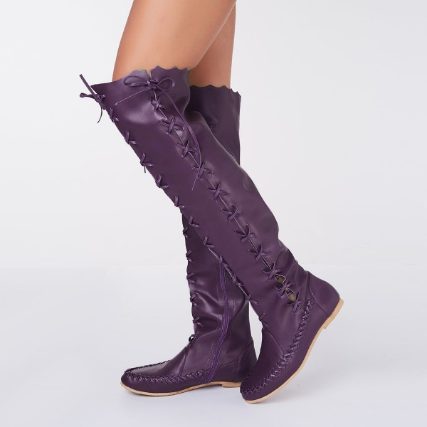 Purple Knee Boots Round Toe Flat Comfortable Strappy Boots for Women image 1
