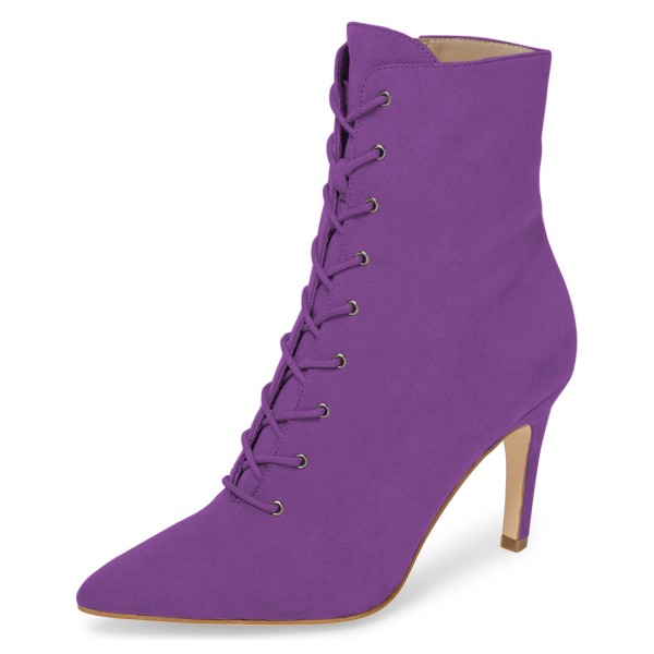 Purple Lace up Boots Elegant Pointed Toe Ankle Booties with Zipper image 1