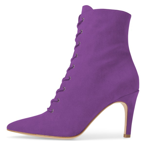 Purple Lace up Boots Elegant Pointed Toe Ankle Booties with Zipper image 3