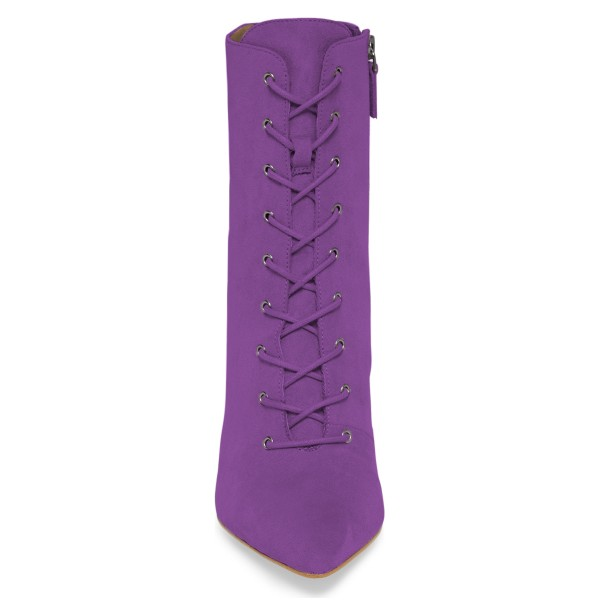 Purple Lace up Boots Elegant Pointed Toe Ankle Booties with Zipper image 4
