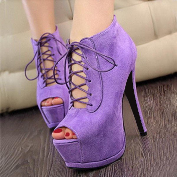 Purple Lace up Boots Peep Toe Suede Platform Ankle Boots image 1